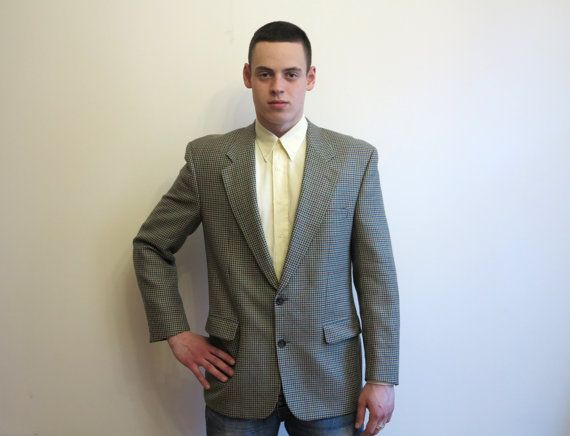 Classic Mens Wool Jacket Blazer Houndstooth Plaid by VintageOffer