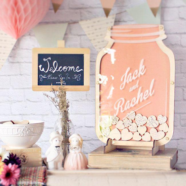 Mason Jar wedding guest book alternative - Drop hearts Personalised Guestbook - Size 0