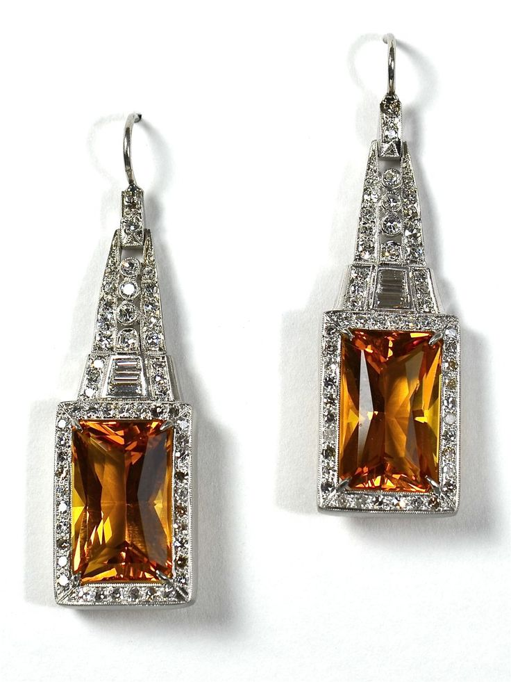 """Striking Deco Platinum & Citrine Earrings."""