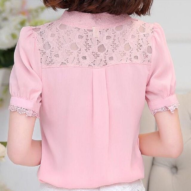 Frete grátis 2016 Verão Novas Mulheres camisa de renda Oco Moda Casual curto-de mangas compridas Camisa blusa chiffon Plus Size senhoras topos