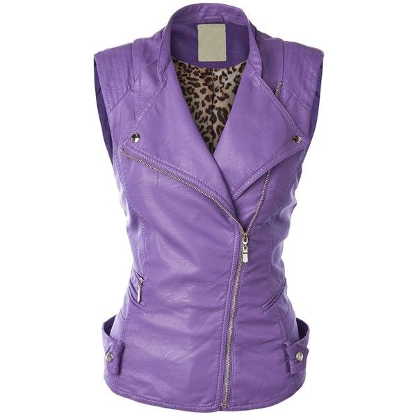 MBJ Womens Faux Leather Moto Vest ($30) ❤ liked on Polyvore featuring outerwear, vests, faux leather vest, vest waistcoat, fake leather vest and purple vest