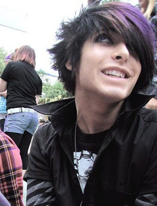 Purple Black Emo Hairstyle for Guys
