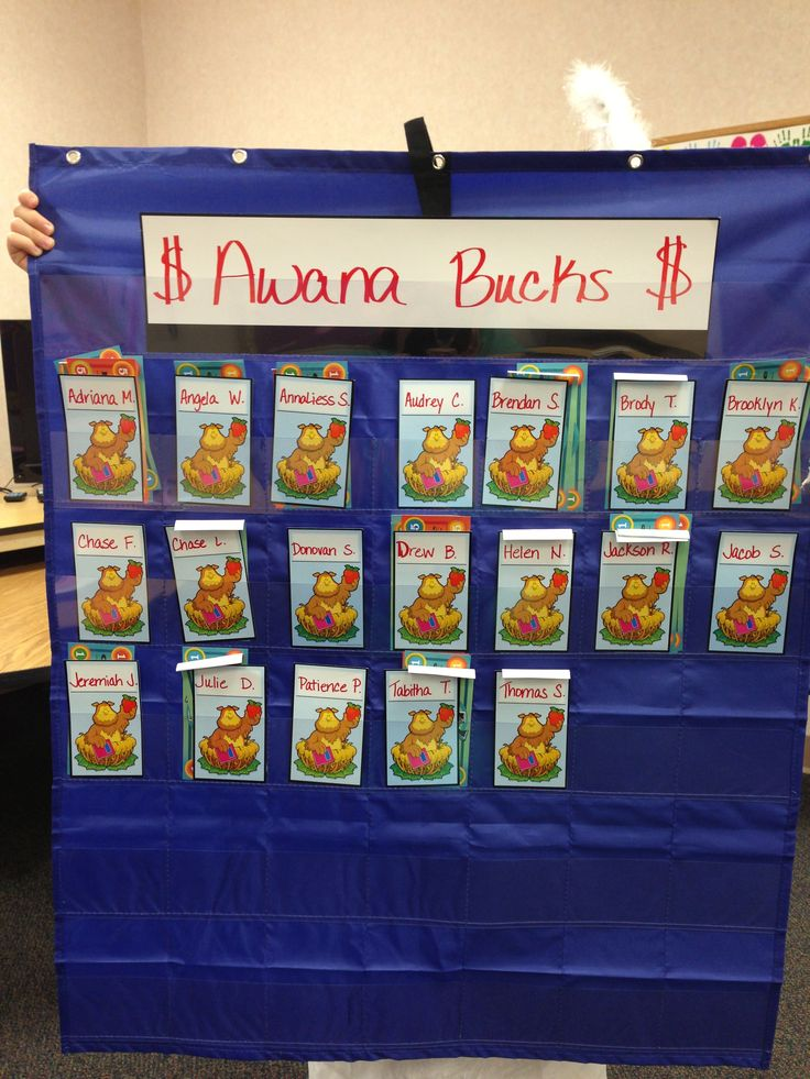Classroom Setup Ideas ~ Pocket chart to hold the awana bucks shares given each