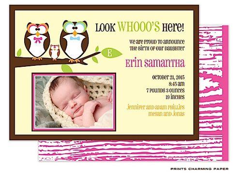 Happy Owls Girl Photo Birth Announcement