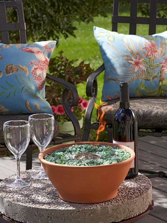 Make the most of a small backyard. Create Ambience - You might not have room for a fire pit, but you can still give your outdoor room a cozy ambience with a tabletop fire bowl.          DIY Project: To make this bowl, place a 13-ounce can of clean-burning gel-alcohol fuel in a 10-inch-diameter terra-cotta container. Surround the can's bottom and sides with recycled glass.