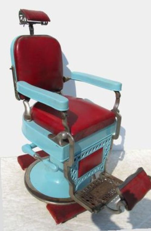 antique dentist chairs wicker chair seat cushions amazing vintage barber's in robin's egg blue enamel with red leather! | tph inventory ...