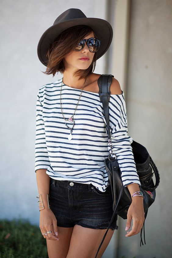 black and white striped off shoulder shirt