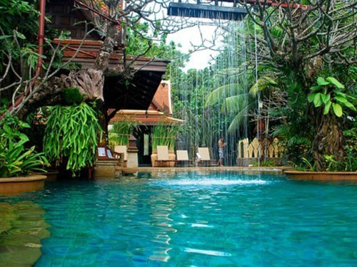 is this amazing or what?  It's like a tropical paradise right in your own back yard...just needs a rock waterfall slide and a swing or rope hanging from one of the trees I think:-)
