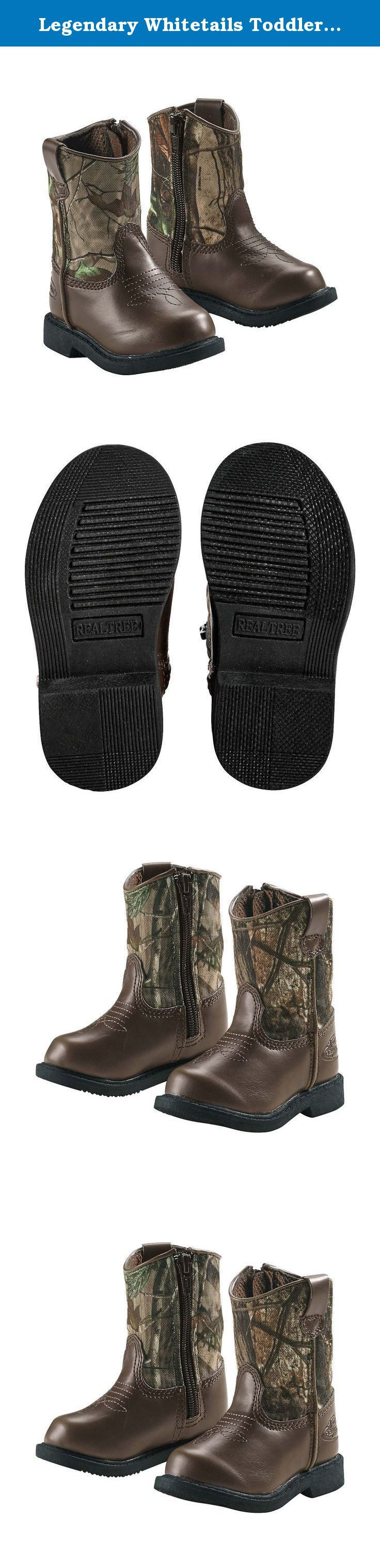 Legendary Whitetails Toddler Boys Lil Dustin Cowboy Boots Dark Brown 9. Let your toddler cowboy kick it in camo! Featuring tough nylon uppers in Realtree® AP Green Camo, your little one will love romping around in these cute boots. Full-length zipper for easy on-off and durable non-marking soles. Material: Man made materials Wash: Wipe clean with a damp cloth. Air dry. .