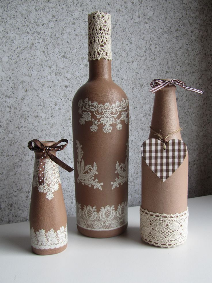 Lace prints on taupe colored bottles! Love these altered bottles.