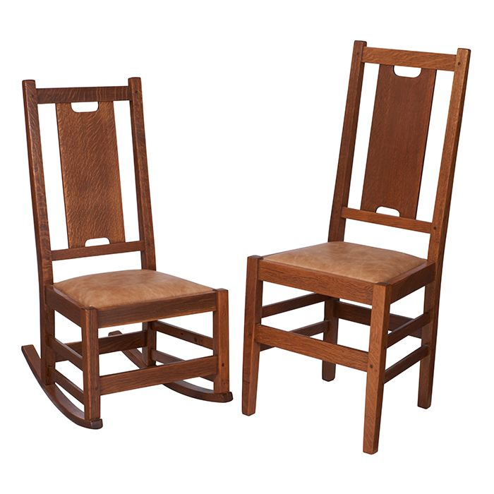 Gustav Stickley, H Back Side Chair, No.308 And Rocker, No