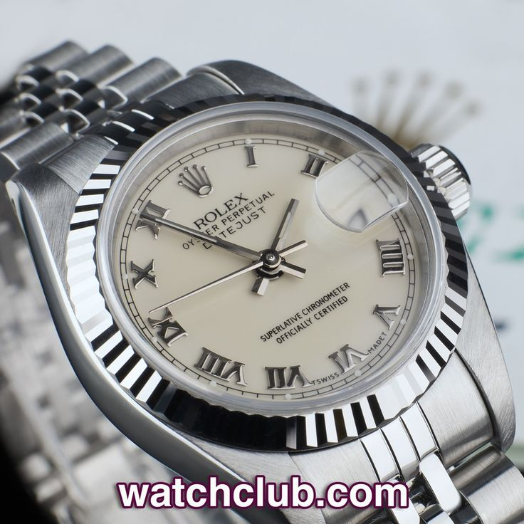 Rolex Lady-Datejust 26mm - White Gold Bezel REF: 69174 | Year Oct 1993 - An all time classic - Rolex's Lady Datejust with 18ct white gold fluted bezel... Complete with its original Rolex warranty certificate, this steel Oyster sports a warm ivory coloured dial with white gold Roman numerals and matching luminous hands, in superb condition and fitted to the dressy and dependable Jubilee bracelet - for sale at Watch Club, 28 Old Bond Street, Mayfair, London