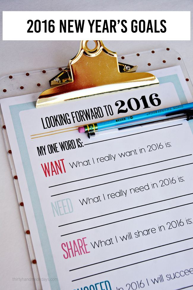 New Year Resolutions | 2016 Printable New Year's Resolutions and Goals www.thirtyhandmadedays.com