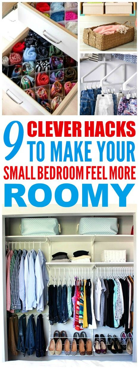 These 9 clever ways to organize a small bedroom are THE BEST! I'm so happy I found these GREAT tips! Now I have some great ways to organize my bedroom and have it feel way bigger! Definitely pinning these small bedroom organization tips!