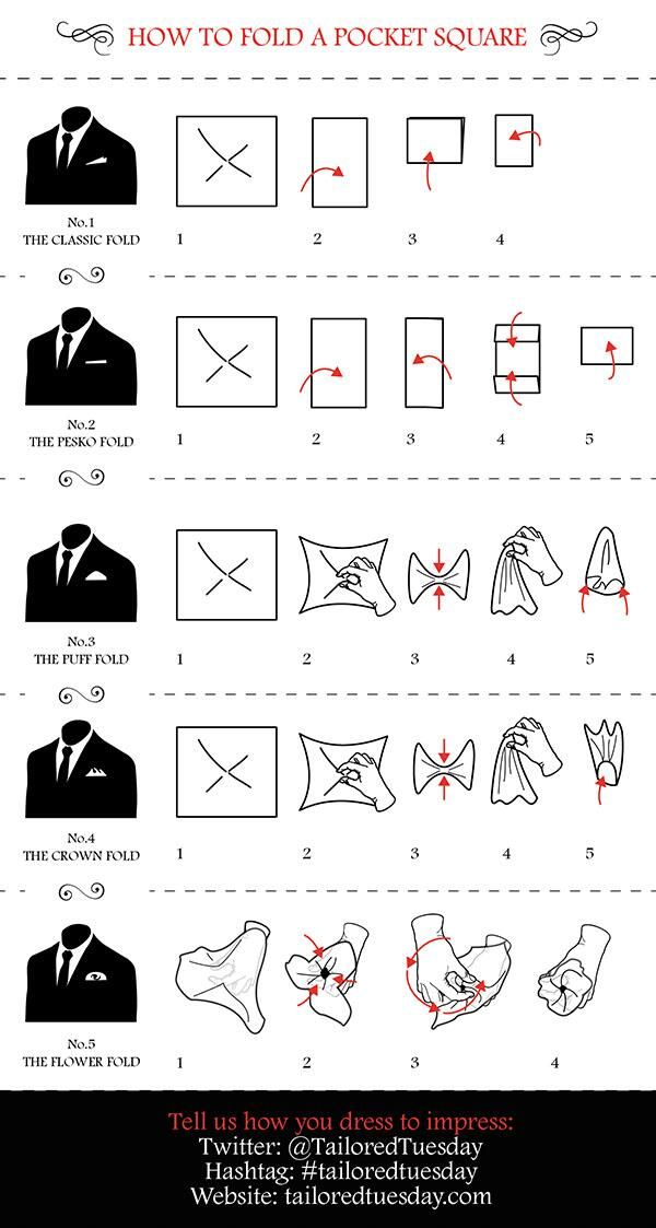 This will be useful one day. #infographic from @TailoredTuesday 'How to fold a Pocket Square' #tailoredtuesday