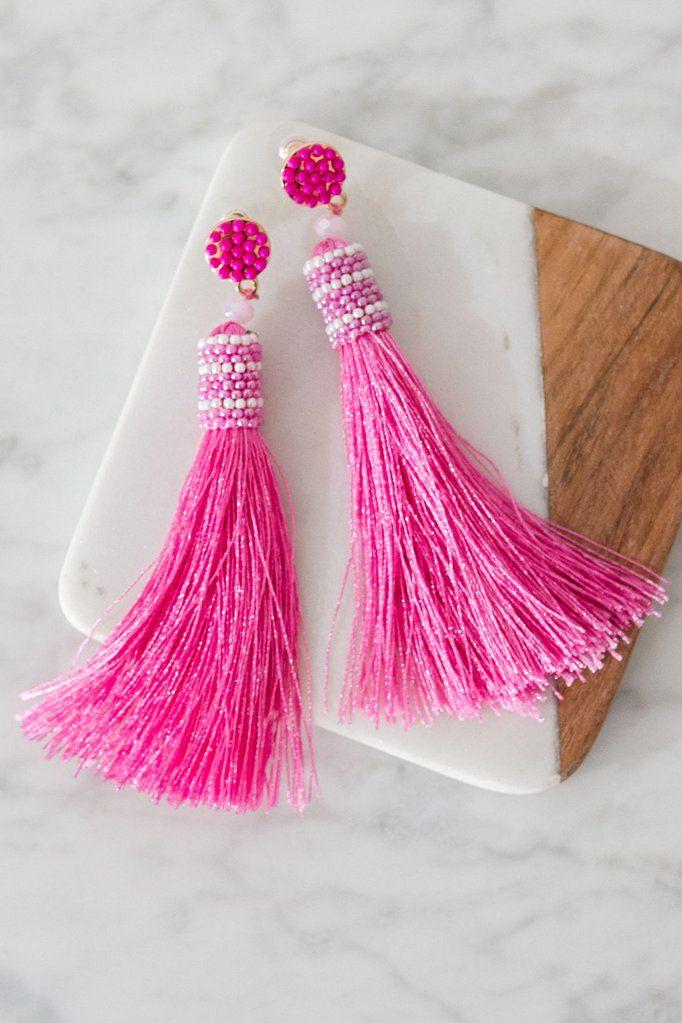ef49685a6422 Slice Of Paradise Tassel Earrings In Pink • Impressions Online Boutique  Pendientes De Borla