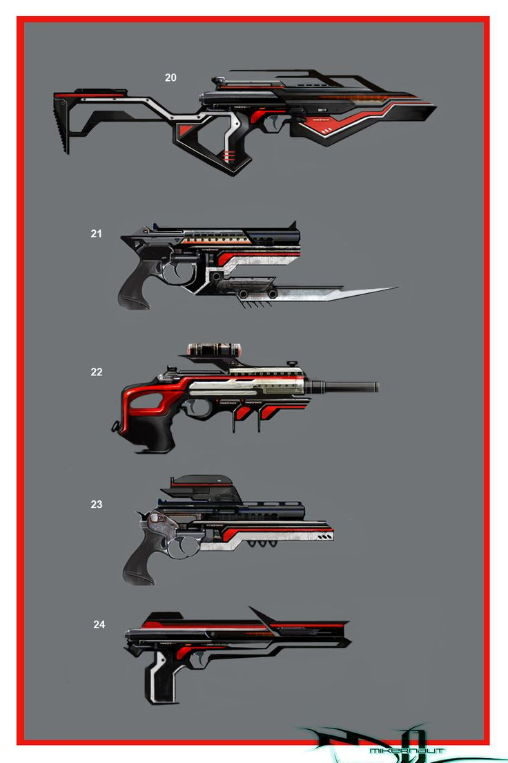 a bunch of different guns with the same colour codes for them and similar styles…