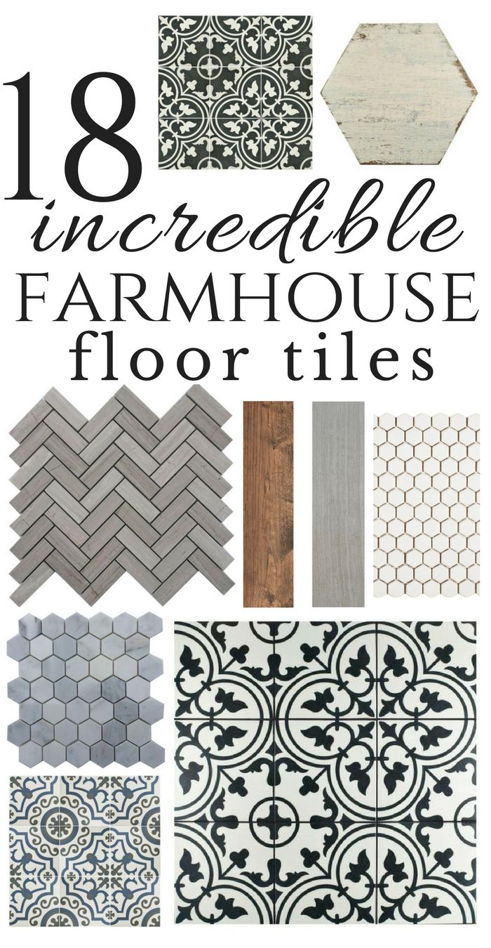 So many inspiring farmhouse style floor tiles.  I personally love the mosaic tiles! Be bold in your design choices:) #farmhousestyle #farmhouseflooring