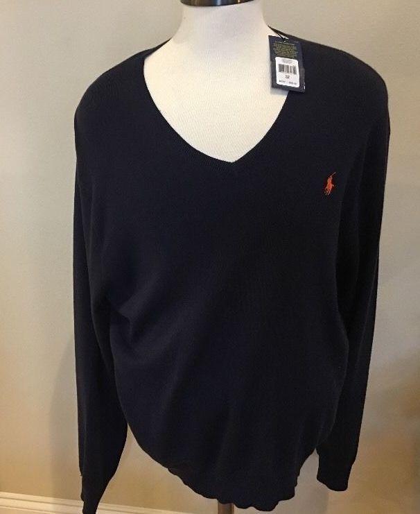 New Polo Ralph Lauren Mens Sz 2XL Sweater V Neck Pima Cotton Blue XXL Red  Pony