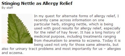 http://www.beyondallergy.com/allergy-abcs/stinging-nettle-as-allergy-relief.php # http://www.bastyrcenter.org/content/view/308/