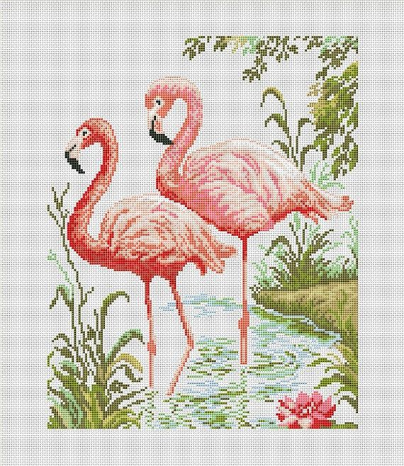 Cross stitch pattern PDF  Flamingo by UAHomeMadeStudio on Etsy