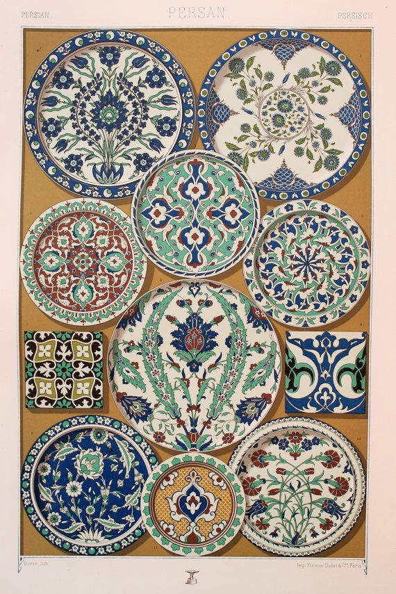 Persian Asian Decorative Ornament (Earthenware Pottery Enamels, Glazes in Green & Blue, etc) - Stunning 1880's Polychrome by Racinet.