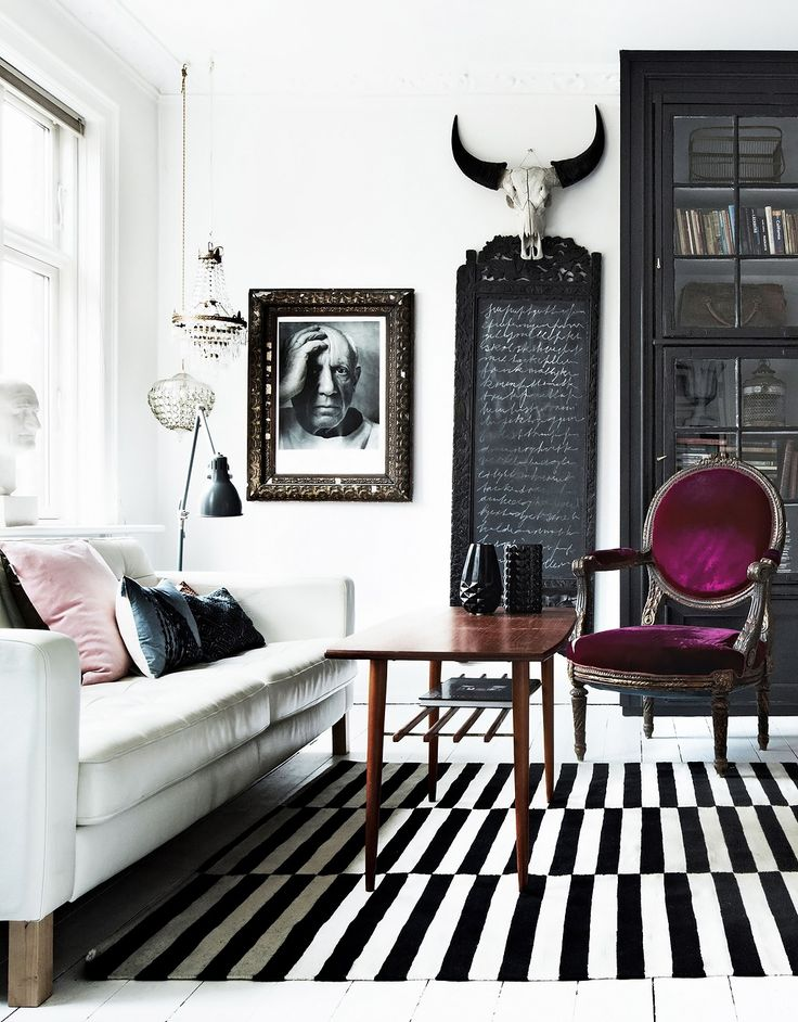 monochrome living with plum accent