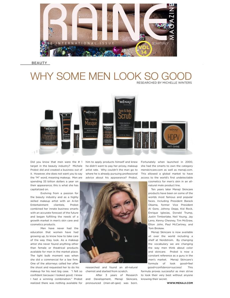Raine Magazine toasts Menaji Skincare in 2013
