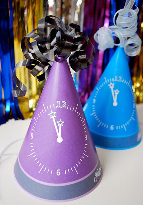How to make New Year's Eve Party Hats free printable template craft idea and tutorial