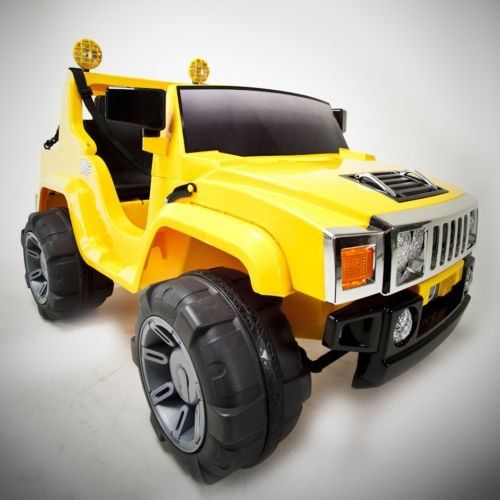 "Yellow 12v Battery Power Kids Ride on Hummer Style Jeep w/ Big Wheels. New 2012 Model. by ZH. $399.99. Perfect For 3-6 Years Of Age .Weight Capacity of 88 Lbs.. Forward and Reverse . 2 Speeds - 2 & 4 MPH. Length: 54"", Width: 32"" .. Realistic Gear Shift .Functioning Headlights .Foot Pedal Accelerator .. Rechargeable 12V 10Ah Battery .2 x 12V Motors .. Adjustable Seats & Seat Belts. 110V Charger Is Included. For those 3-6 year-old drivers seeking adventure, this 12 volt, 2..."