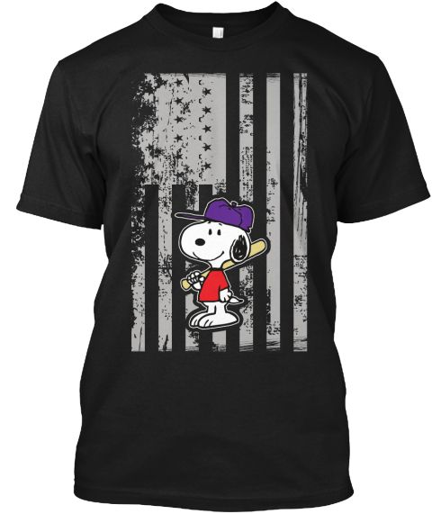American Baseball T Shirt , Snoopy Shirt Black T-Shirt Front