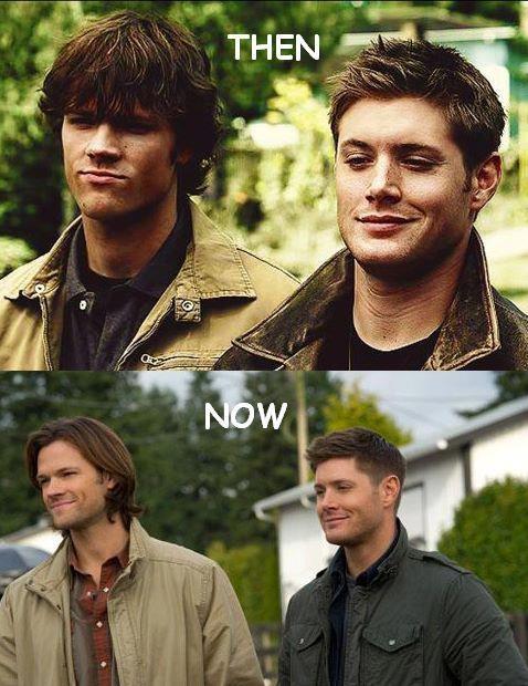 Jensen Ackles & Jared Padalecki. Nothing's changed. Well, except Sam's hair. #Supernatural #Sam #Dean
