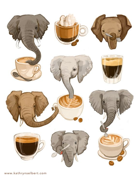 Fine Art Print Elephants and Espresso by kathrynselbertcool!  on Etsy combines my love of elephants and espresso!