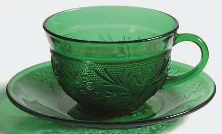 Anchor Hocking Sandwich-Forest Green at Replacements, Ltd Cup and Saucer