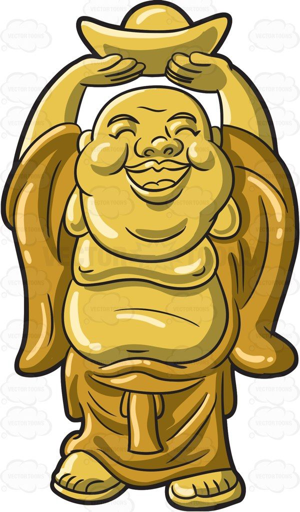 A Golden Laughing Buddha Laughing buddha Cartoon clip