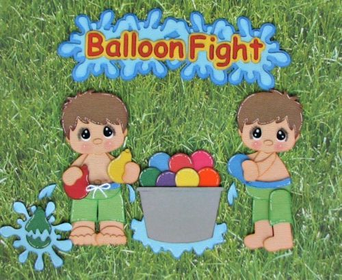 Balloon Fight Premade Paper Piecing Scrapbook Layout Cards Albums Boy CBC | eBay