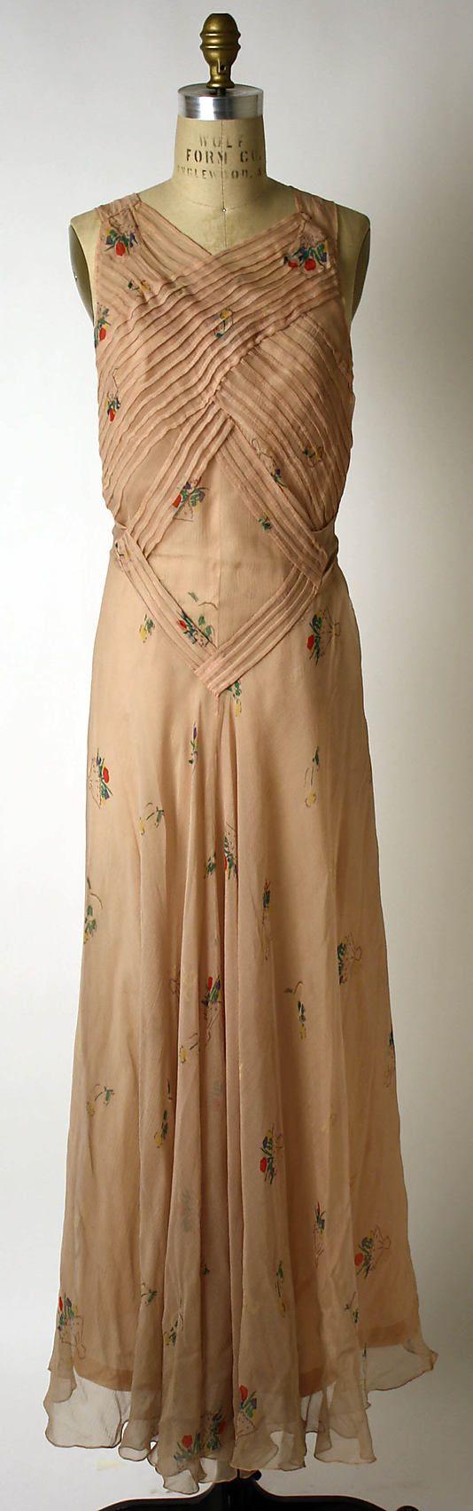 Dress, Evening  Elsa Schiaparelli (Italian, 1890–1973)  Date: 1933–35 Culture: French Medium: silk