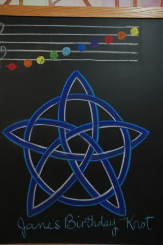 Gallery of Drawings | Chalkboard Drawings in the Waldorf Classroom (like the idea of rainbow-colored notes for music learning)