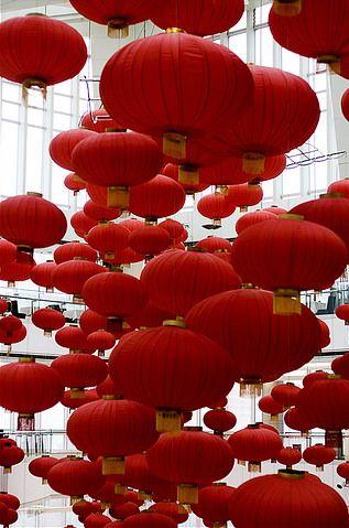 Red Paper Lanterns #red [ CandaceWilsonArtStudio.com ]