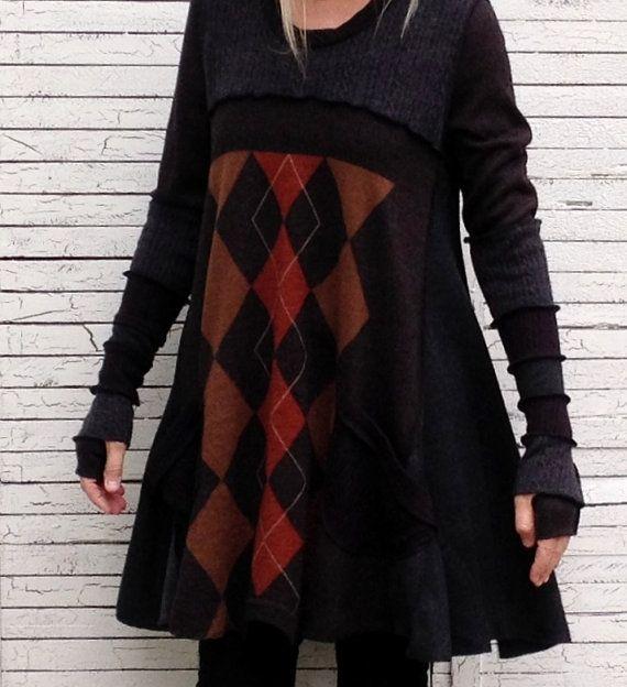 Curcuma e spezie Argyle maglione tunica L Upcycled di AnikaDesigns