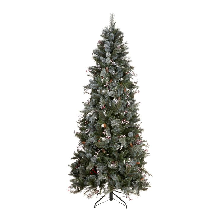 7.6ft Pre-Decorated Valberg Frosted Christmas Tree   Departments   DIY at B&Q