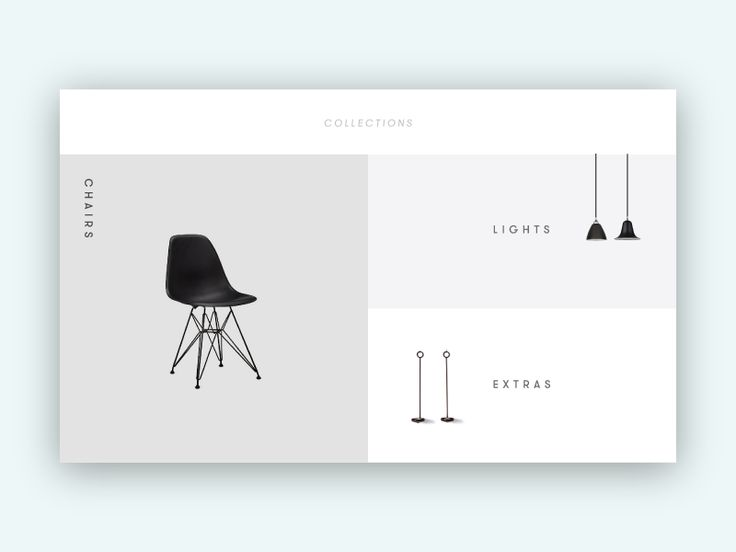 A minimalist landing screen for an interior design collection.