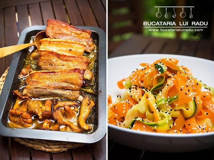 Costita de porc, ceapa verde, ciuperci de padure, bere....