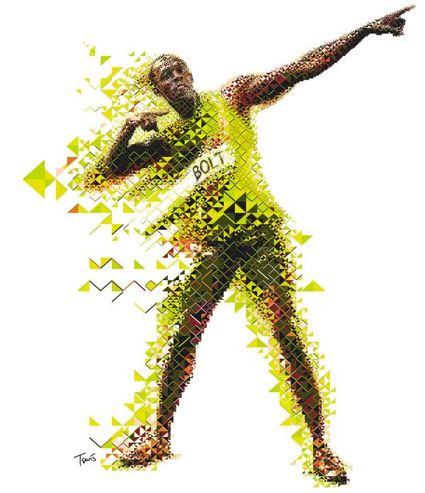 Geometric mosaic of Usian Bolt #sacredgeometry #2&3D
