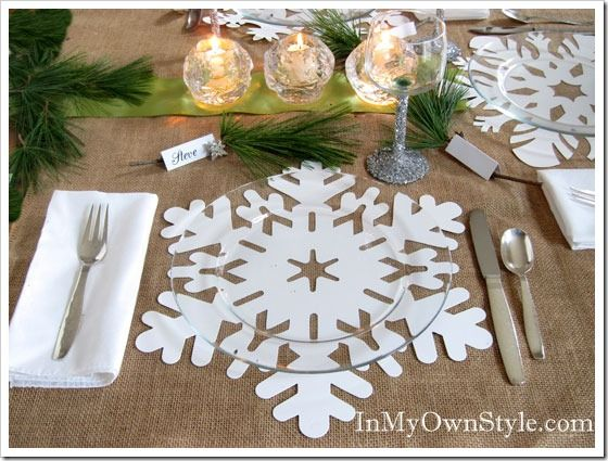 silver bangle bracelets Holiday Table Setting Snowflake Place Mats Place Cards  Glittered