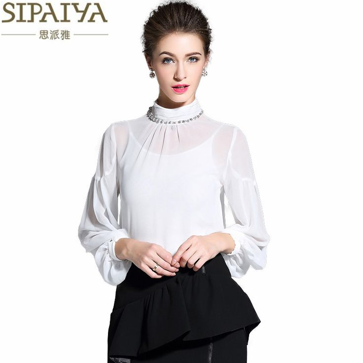 SIPAIYA Women Summer Autumn Tops Blouse Luxury Diamonds Silk Shirts Cardigan Loose Office Ladies Blusas
