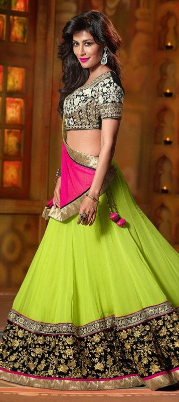 146092: Green color family Bollywood Lehenga.