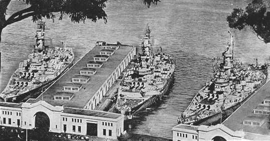 California History 17 March 1946, The USS Indiana (BB-58), USS Massachusetts (BB-59), and USS Alabama (BB-60) tied up at the Embarcadero, San Francisco.