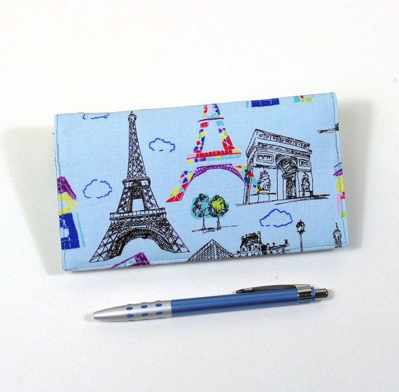 Paris Fabric Checkbook Cover for Duplicate Checks by QuiltSewCover
