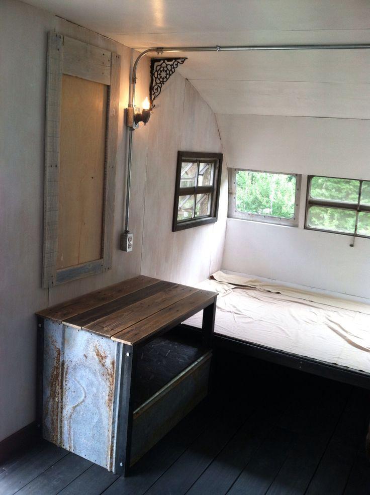 Vintage Camper Interior Renovation Refurbished Pallet